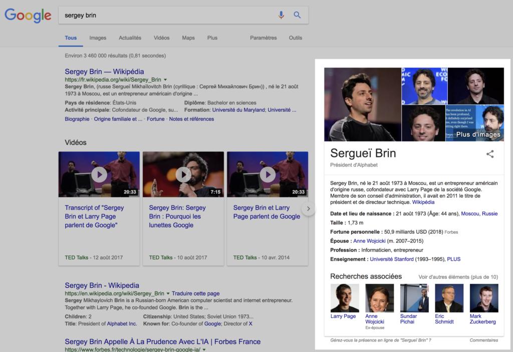 exemple Knowledge Panel Google
