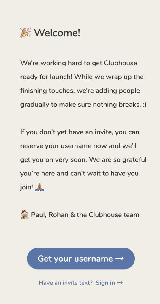 écran de bienvenu Clubhouse (Source - Capture d'écran Clubhouse